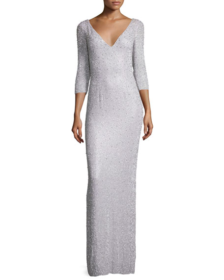 Jenny Packham 3/4-Sleeve Embellished Column Gown, Pale Wisteria