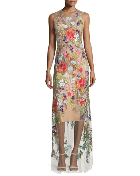 Sleeveless Floral-Applique Gown, Illusion