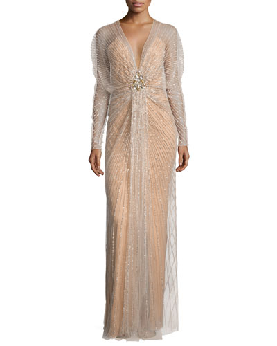 Long-Sleeve Embellished-Overlay Gown, Illusion