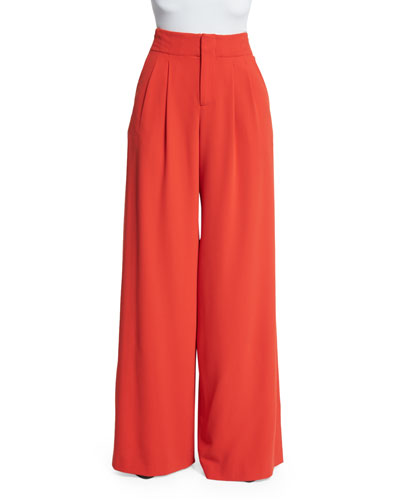 Eloise Straight Wide-Leg Pants, Poppy