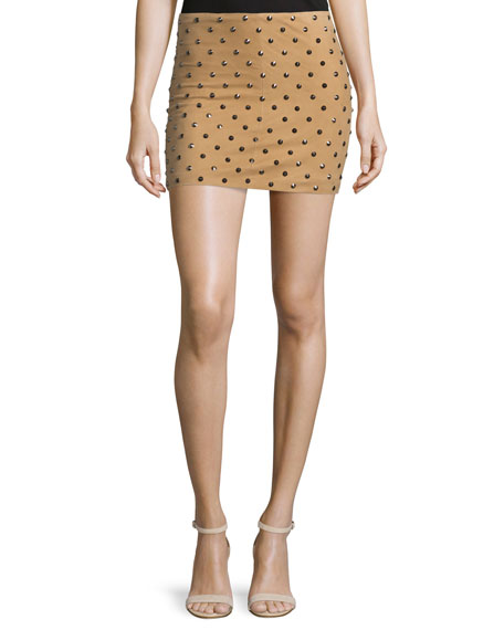 Elana Studded Suede Mini Skirt, Tan