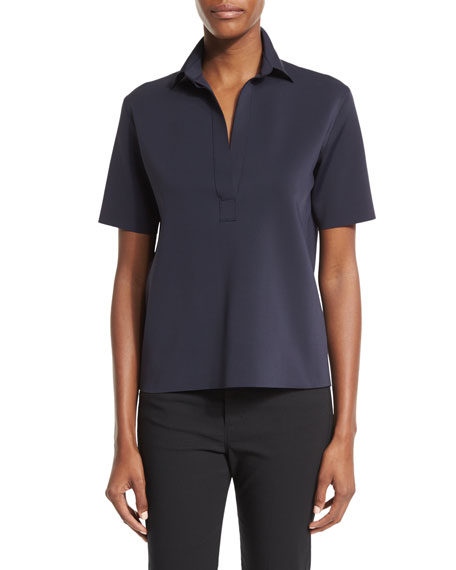 Helmut Lang Short-Sleeve Scuba Polo Shirt, Navy