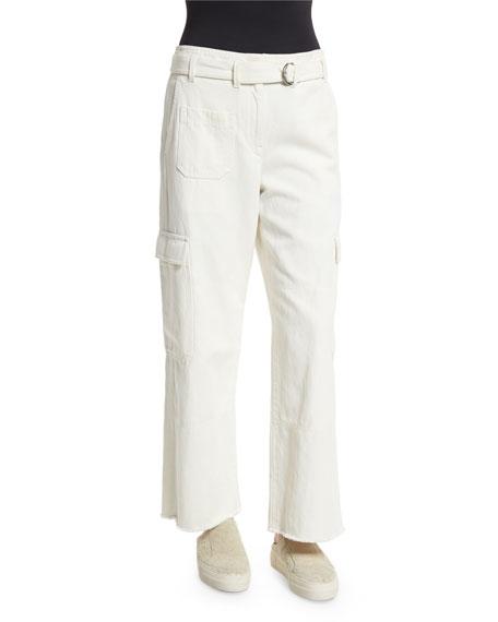 Helmut Lang Cropped Oversized Twill Cargo Pants, Ivory