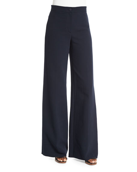 Cotton Double-Weave Wide-Leg Pants, Navy