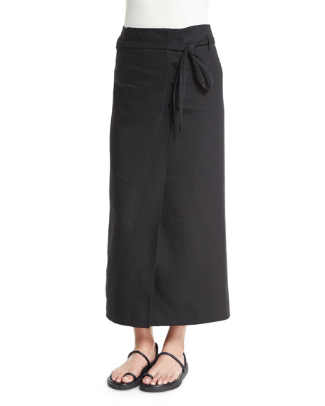 Helmut Lang Linen-Blend Suiting Wrap Skirt, Black
