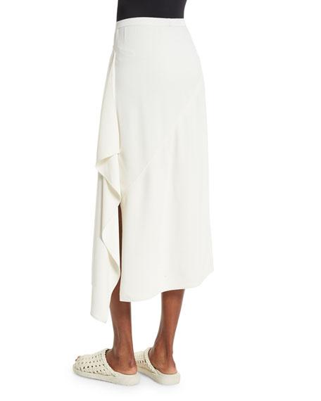 Draped-Side Crepe Midi Skirt, Ivory