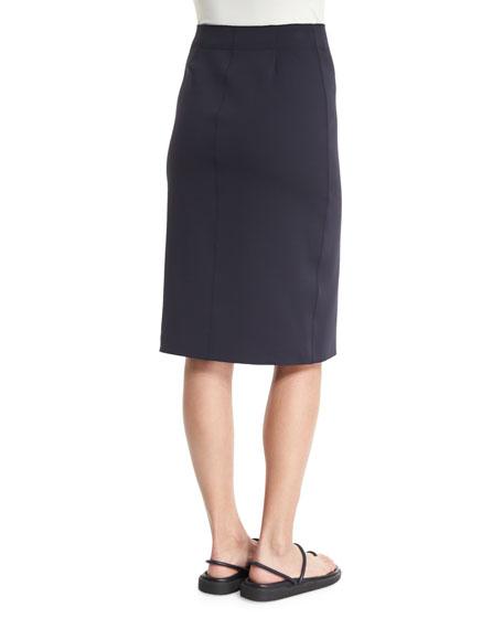 Scuba High-Waist Pencil Skirt, Navy