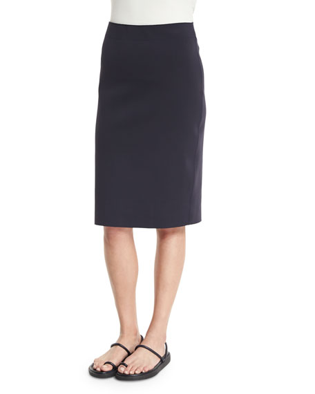 Helmut Lang Scuba High-Waist Pencil Skirt, Navy