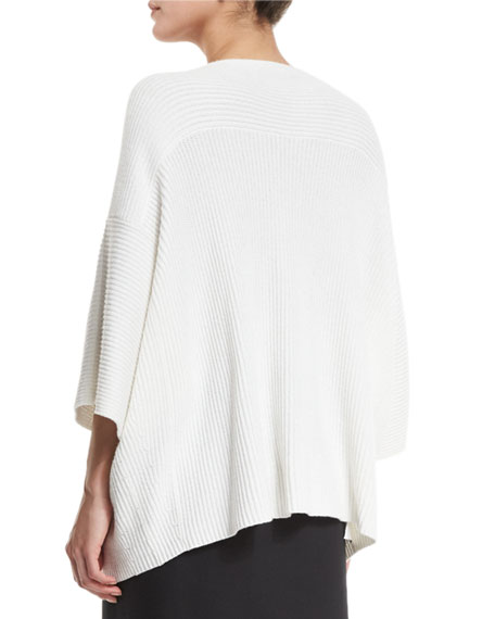 Dolman-Sleeve Ribbed Oversized Pullover Sweater, White
