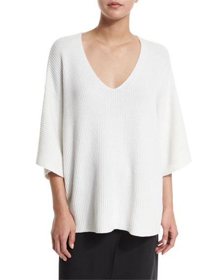 Helmut LangDolman-Sleeve Ribbed Oversized Pullover Sweater, White
