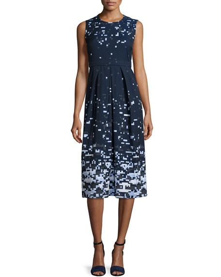 Jil Sander Navy Sleeveless Pixelated A-line Dress, Navy/Multi
