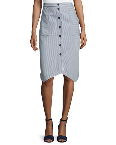 Jil Sander Navy Short-Sleeve Drawstring-Hem Blouse & Pinstriped