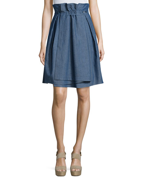 Jil Sander Navy Ruched-Waist Denim Skirt