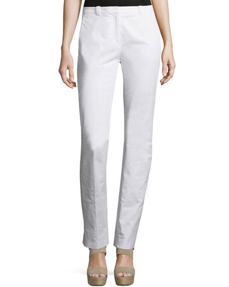 Jil Sander Navy Mid-Rise Slim-Leg Pants, White