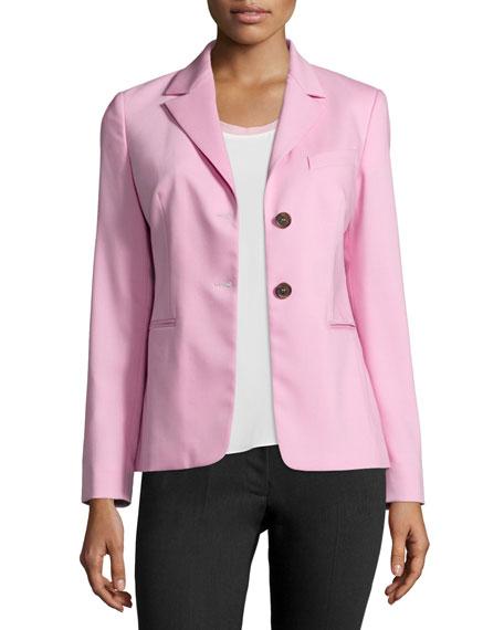 Jil Sander Navy Two-Button Stretch-Wool Blazer, Pink