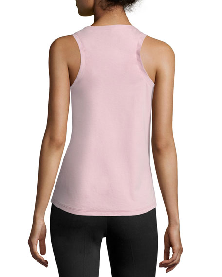 Scoop-Neck Bicolor Tank, White/Pink