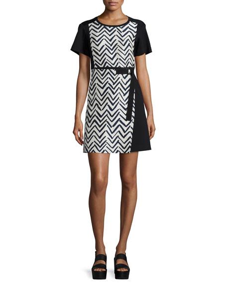 Jil Sander Navy Short-Sleeve Chevron-Print Dress, Sand/Navy