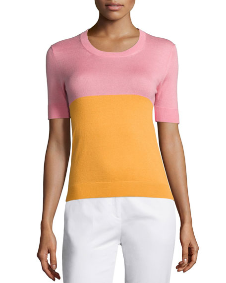 Jil Sander Navy Crewneck Bicolor Short-Sleeve Top