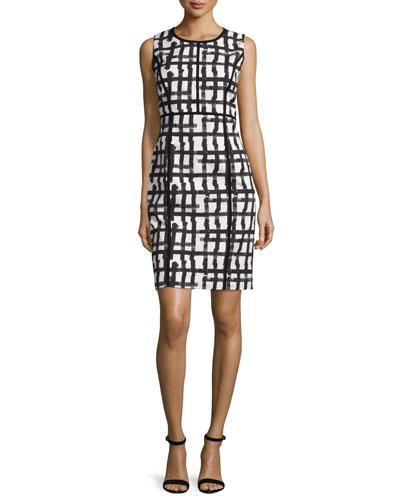 Lafayette 148 New York Mariana Grid-Print Sheath Dress,