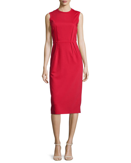 Jil Sander Navy Sleeveless Pleated-Waist Sheath Dress, Red