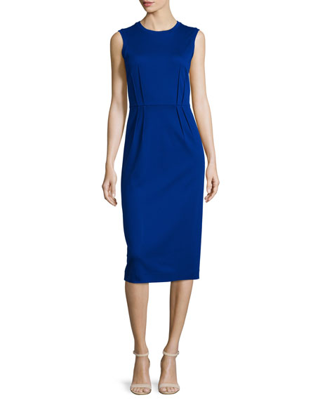 Jil Sander Navy Sleeveless Pleated-Waist Sheath Dress, Blue ...