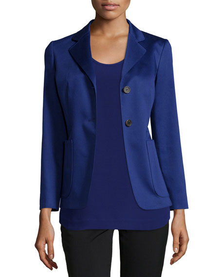 Jil Sander Navy Two-Button Fitted Blazer, Blue