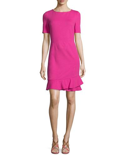 Serafina Crepe Sheath Dress, Vivid Pink