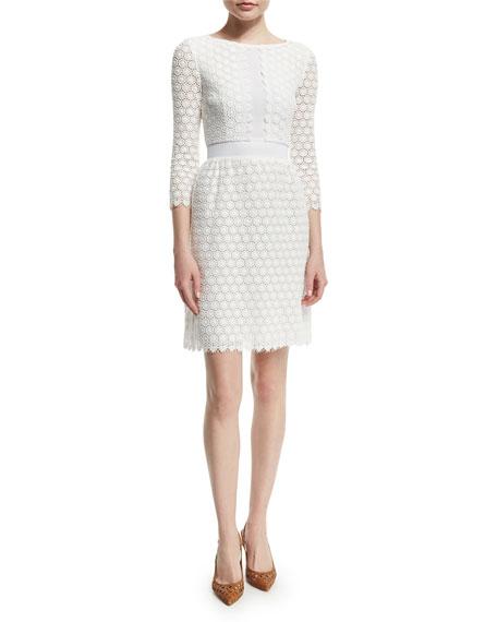 Diane von Furstenberg Nolly Cotton Honeycomb A-Line Dress, Ivory