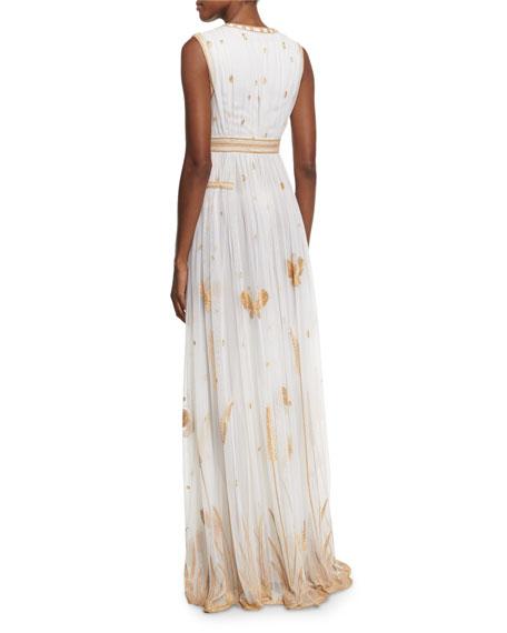 Vivanette Sleeveless Tulle Gown, Ivory/Gold