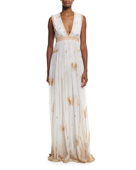 Diane von Furstenberg Vivanette Sleeveless Tulle Gown, Ivory/Gold