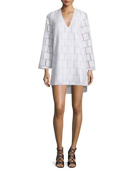 Long-Sleeve Grid-Lace Mini Dress, White