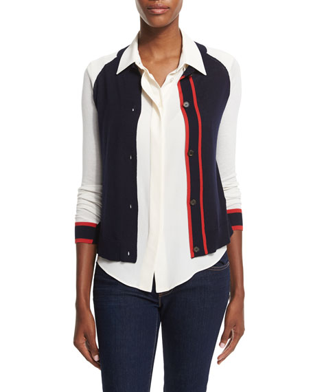 Jil Sander Navy Vertical Striped Button-Front Cardigan, Navy
