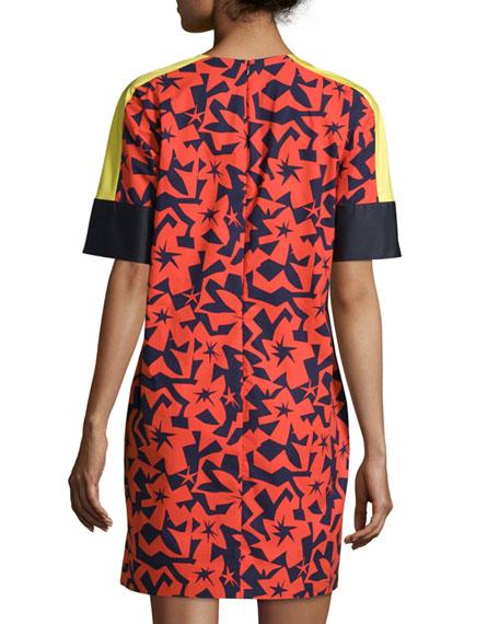 Short-Sleeve Printed Shift Dress, Tangerine/Navy