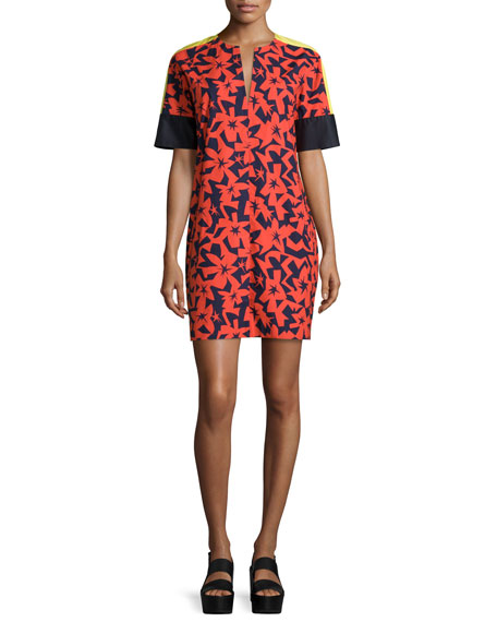 Jil Sander Navy Short-Sleeve Printed Shift Dress, Tangerine/Navy