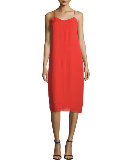 T by Alexander Wang Silk Georgette V-Neck Slip Dress, Cherry