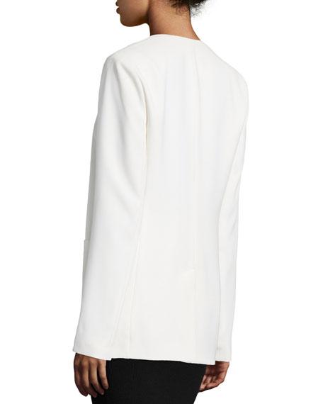 Crepe Open-Front Blazer, Off White