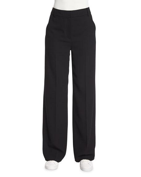 Mid-Rise Crepe Wide-Leg Trousers, Black