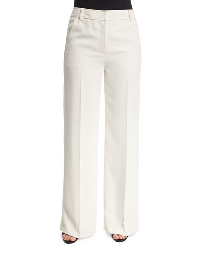 Mid-Rise Crepe Wide-Leg Trousers, Off White