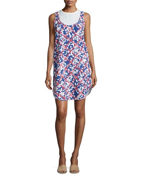 Jil Sander Navy Round-Neck Floral-Print Dress, White/Blue