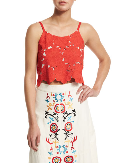 Alice + Olivia Alanis Sleeveless Rose Crop Top, Light Red