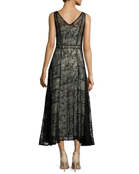 Phyllis Sleeveless Paneled Lace Midi Dress, Black/Brown