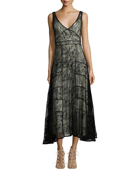 Alice + Olivia Phyllis Sleeveless Paneled Lace Midi Dress, Black/Brown