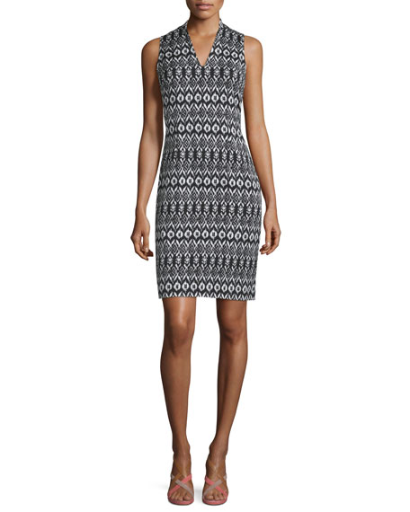 Diane von Furstenberg Trisha Printed Sheath Dress, Black/White