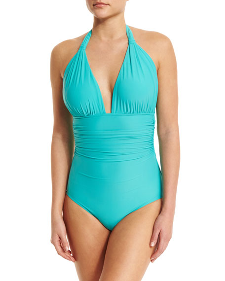 Lenny Niemeyer Halter-Neck Ruched Maillot One-Piece Swimsuit,
