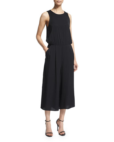 Milly Sleeveless Wide-Leg Cropped Jumpsuit. Black