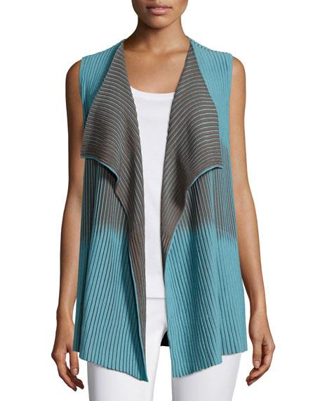 Lafayette 148 New York Bicolor Pleat-Stitched Vest, Plus Size