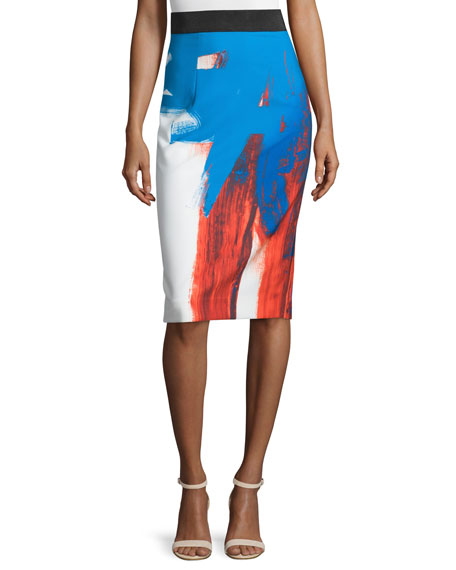 Milly Modern Abstract Pencil Skirt, Multi Colors