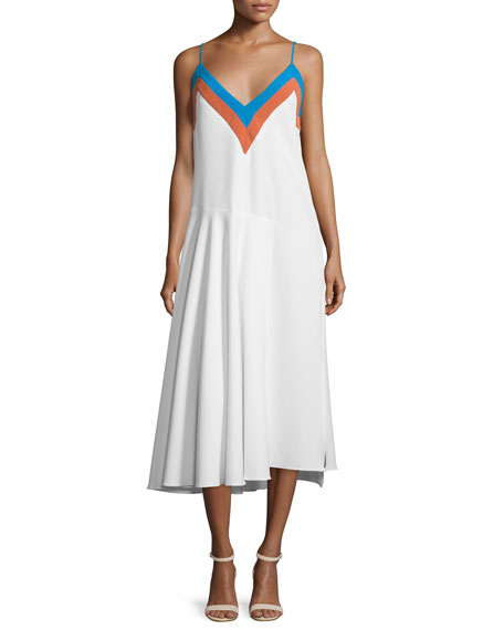 Milly Sleeveless Zigzag Colorblock Midi Dress, Aqua/Multi