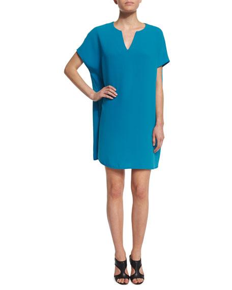 Diane von Furstenberg Kora Short-Sleeve Shift Dress, Atlantis Blue