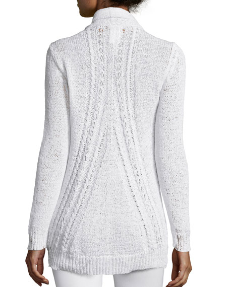 Long Cable-Knit Cardigan